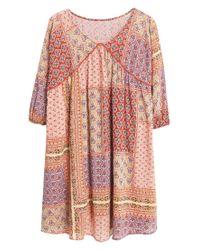 Mango Pink Contrast-bodice Dress