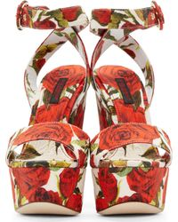 Dolce & Gabbana - Red Rose Print Brocade Wedge Sandals - Lyst
