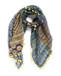 La Fiorentina Yellow Mixed Print Cotton & Silk Scarf