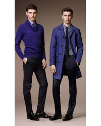 Burberry Blue Shawl Collar Double Cashmere Sweater for men