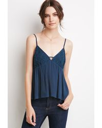 Forever 21 | Blue Crochet Overlay Babydoll Cami You've Been Added To The Waitlist | Lyst