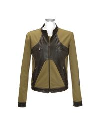 FORZIERI | Green Brown & Olive Italian Leather And Cotton Motorcycle Jacket for Men | Lyst
