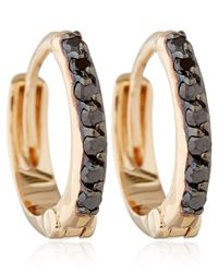 Kismet by Milka - Pink Rose Gold And Black Diamond Mini Hoops - Lyst