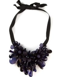 P.A.R.O.S.H. - Blue Flower Cluster Drop Ribbon Necklace - Lyst