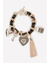 Bebe Black Logo Charm Bracelet