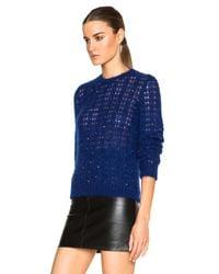 Saint Laurent Blue Crystal Mohair Pullover