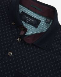 Ted Baker - Blue Knitted Collar Polo Shirt for Men - Lyst