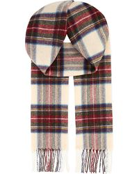 Johnstons Multicolor Calico Dress Stewart Tartan Lambswool Scarf