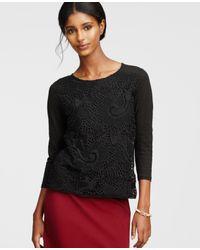 Ann Taylor | Black Lacy Linen Top | Lyst