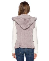 June - Gray Sheared Rabbit Fur Vest - Lyst