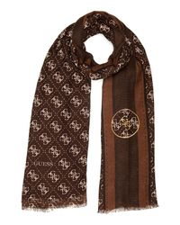 Guess | Brown Lena Logo Scarf | Lyst