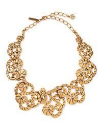 Oscar de la Renta Metallic Golden Swirl Statement Necklace
