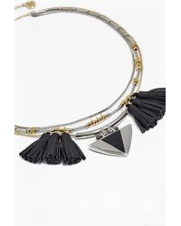 French Connection - Metallic Layered Tassel Necklace - Lyst
