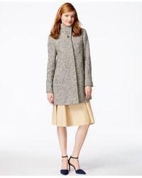 Jones New York Gray Stand-collar Herringbone Coat