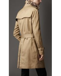 Burberry - Natural Mid-Length Technical Cotton Trench Coat for Men - Lyst