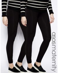 ASOS Black Full Length Legging 2 Pack In Soft Touch Fabric Save 9%