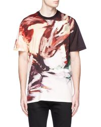 Givenchy Multicolor 'rooster Fight' Print T-shirt for men