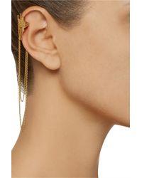 Maria Black Metallic Cascade Chain-embellished Oxidized Ear Cuff