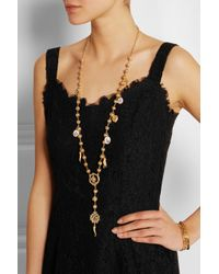 Dolce & Gabbana | Metallic Gold-plated Swarovksi Crystal Necklace | Lyst