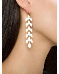 Irene Neuwirth Metallic Leaf Drop Earrings