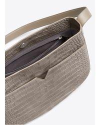 Vince - Gray Crocodile-Embossed Leather Messenger Bag - Lyst