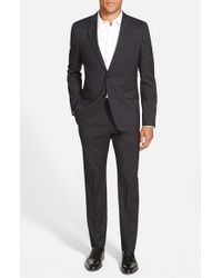 HUGO - Black 'aeron/hamen' Extra Trim Fit Plaid Wool Suit for Men - Lyst