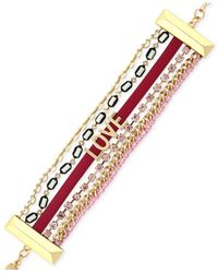 "BCBGeneration - Pink Gold-tone Mixed Media ""love"" Line Bracelet - Lyst"