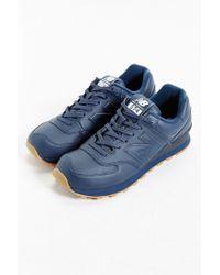 New Balance | Blue 574 Leather Gumsole Sneaker for Men | Lyst