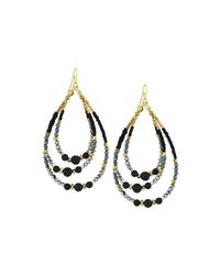 Nakamol - Black Golden Beaded Three-tier Drop Earrings - Lyst