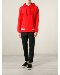 Off-White c/o Virgil Abloh - Red Logo-Print Hoodie for Men - Lyst
