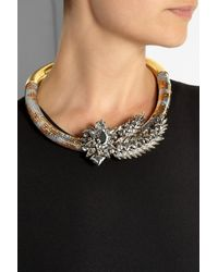Shourouk - Metallic Aigrette Gold-Plated, Swarovski Crystal And Sequin Necklace - Lyst