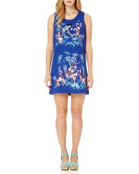 Almost Famous - Blue Embroidered Bird Shift Dress - Lyst