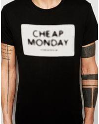 Cheap Monday T-shirt Standard Nuclear Box Logo Print In Black for men