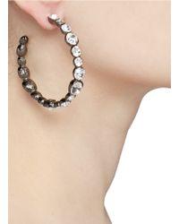 Kenneth Jay Lane Metallic Crystal Detailed Hoop Earrings