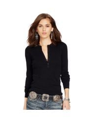 Polo Ralph Lauren - Black Cotton Long-sleeved Henley - Lyst