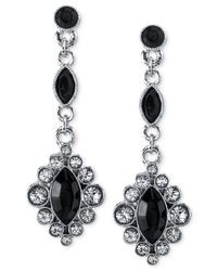 2028 - Metallic Silver-Tone Jet Black Drop Earrings - Lyst