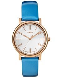 Timex - Women'S Originals Classic Blue Patent Leather Strap Watch 33Mm T2P330Ab - Lyst