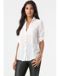 Bebe - White Fiorella Shirt - Lyst