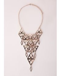 Missguided - Metallic Cutout Longline Necklace Gold - Lyst