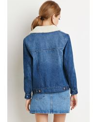Forever 21 | Blue Faux Shearling Denim Jacket | Lyst