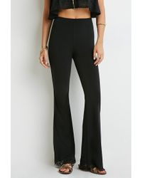 Forever 21 Black Lace-hem Flared Pants