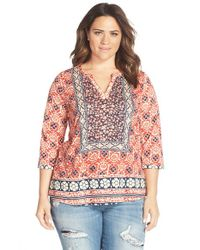 Lucky Brand - Pink Floral Print Split Neck Top - Lyst