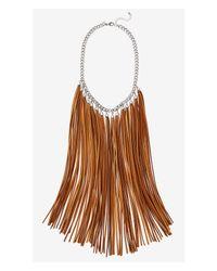 Express - Brown Suede Fringe Necklace - Lyst