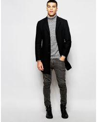 Esprit - Black Wool Overcoat for Men - Lyst