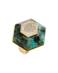 Rachel Zoe | Green 'ali' Stone & Crystal Hexagon Ring | Lyst