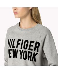 Tommy Hilfiger | Gray Cotton Crew Neck Sweatshirt | Lyst