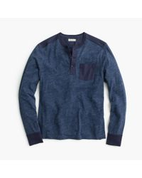 J.Crew - Blue Slim Flagstone Henley With Woven Placket for Men - Lyst
