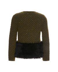 Carolina Herrera | Green Boxy Jacket with Fur Trim | Lyst