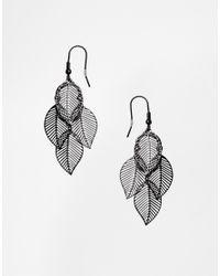 ASOS - Black Leaf Earrings - Lyst