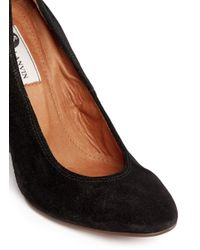 Lanvin - Black Suede Wedge Heel Pumps - Lyst